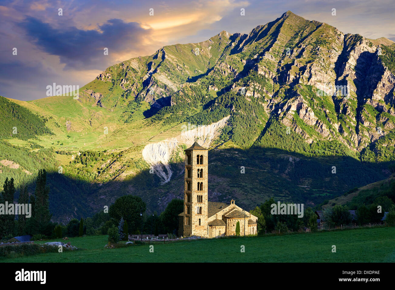 The twelth century Lombard Catalan Romanesque Church of Saint Climent (Clement) in Taull, Vall de Boi, - Stock Image