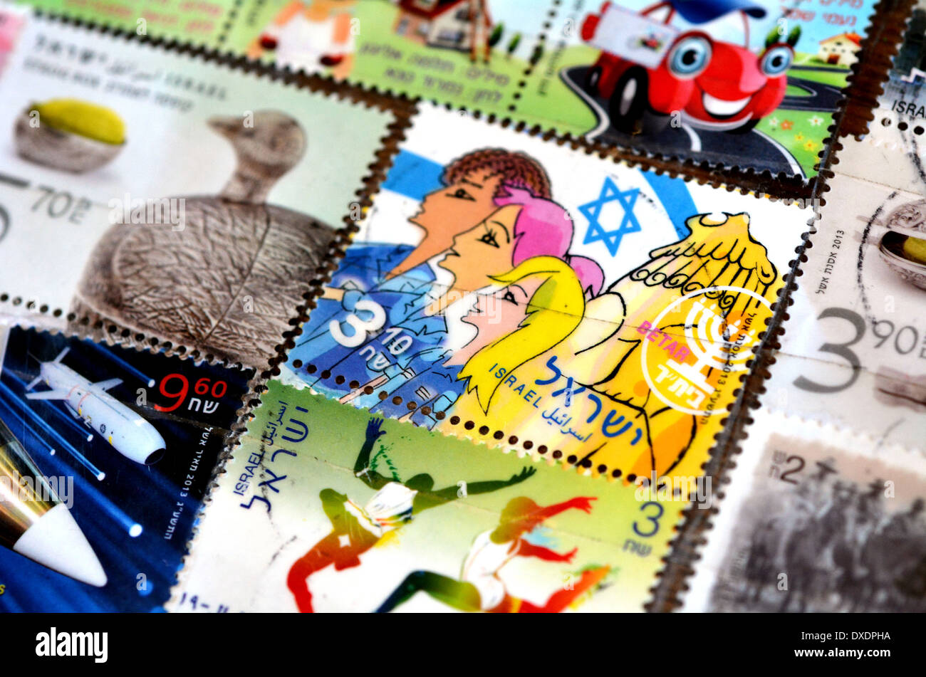 Collection of new modern Israeli stamps made by Israel Philatelic Service. - Stock Image