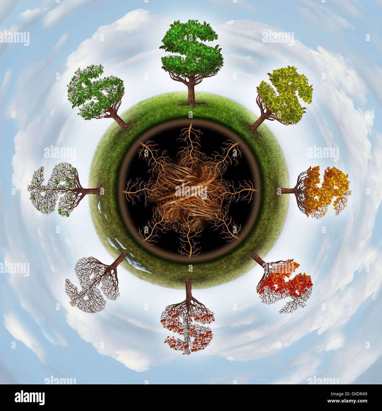 Business cycle and economic change concept as a group of trees shaped as a dollar sign going through seasonal changes from winter spring summer and fall as a financial metaphor for the global economy. - Stock Image