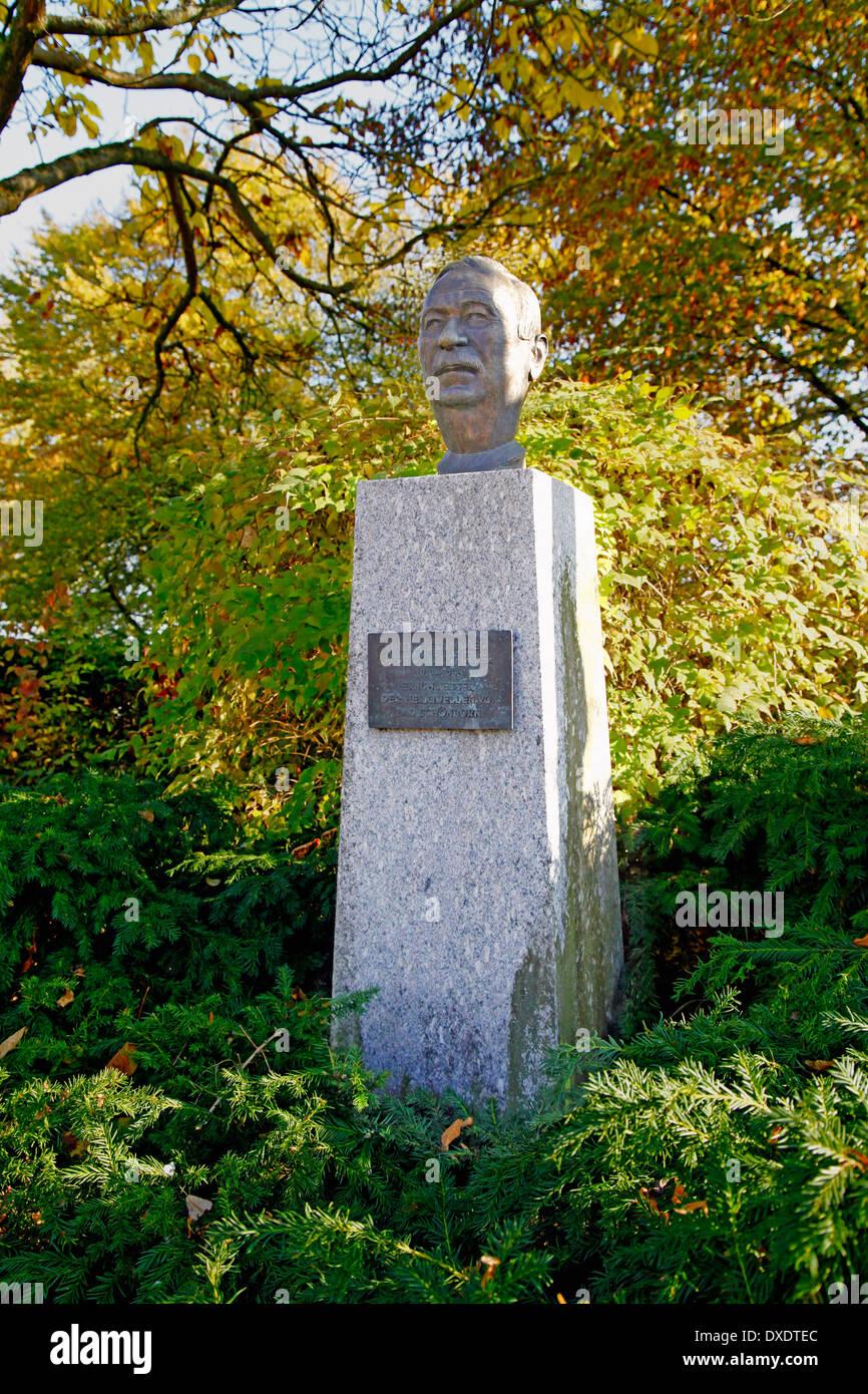 Bust of Kurt Sauer, Bad Schonborn - Stock Image