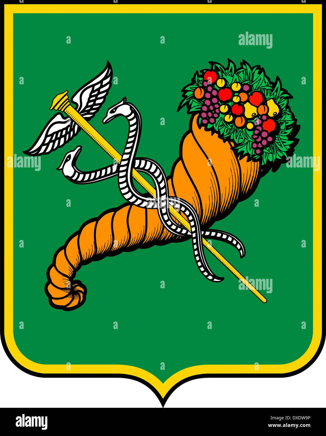 Coat of arms of the Ukrainian city of Kharkiv. - Stock Image