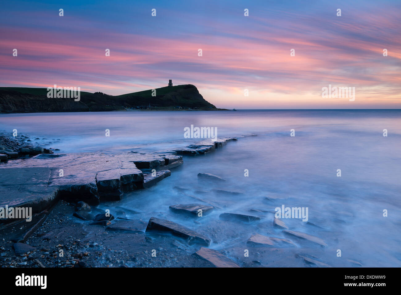 Dusk at Kimmeridge Bay, Jurassic Coast, Dorset, England - Stock Image