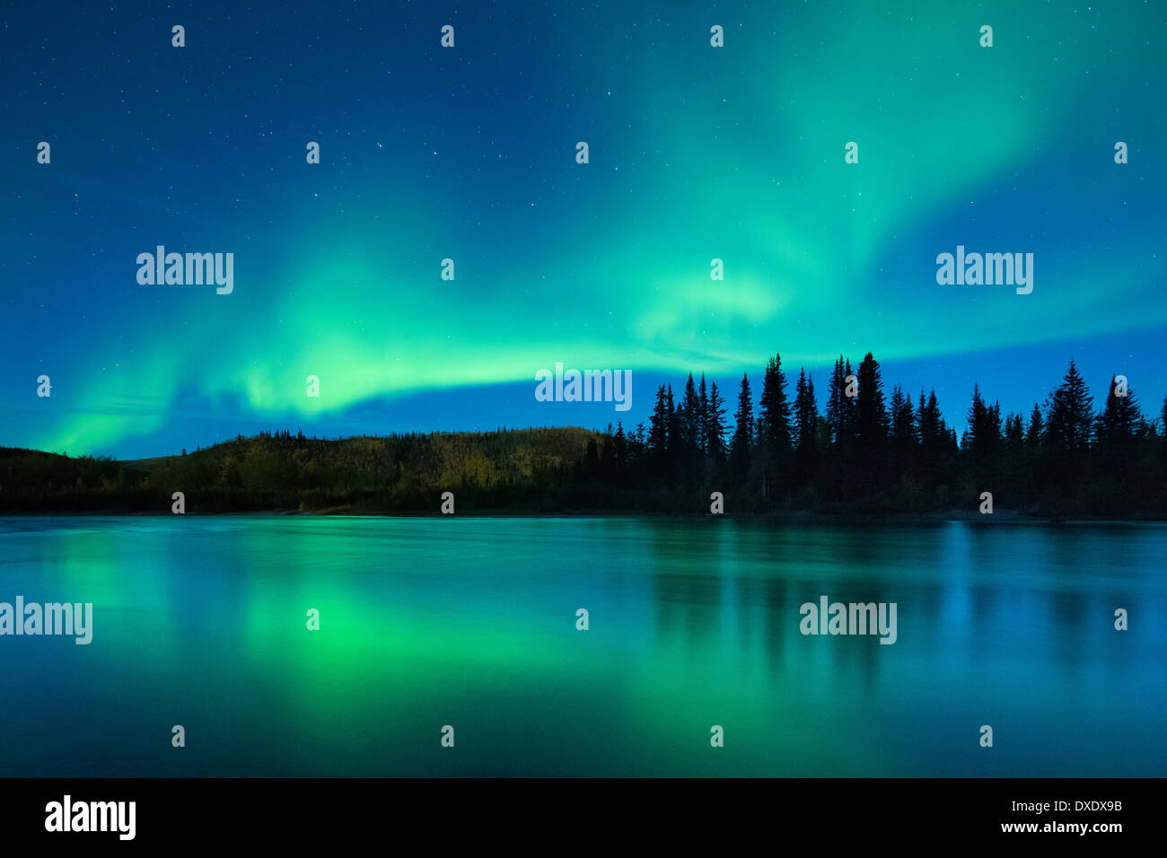 The Aurora Borealis (Northern Lights) over the Klondike River, Yukon Territories, Canada - Stock Image
