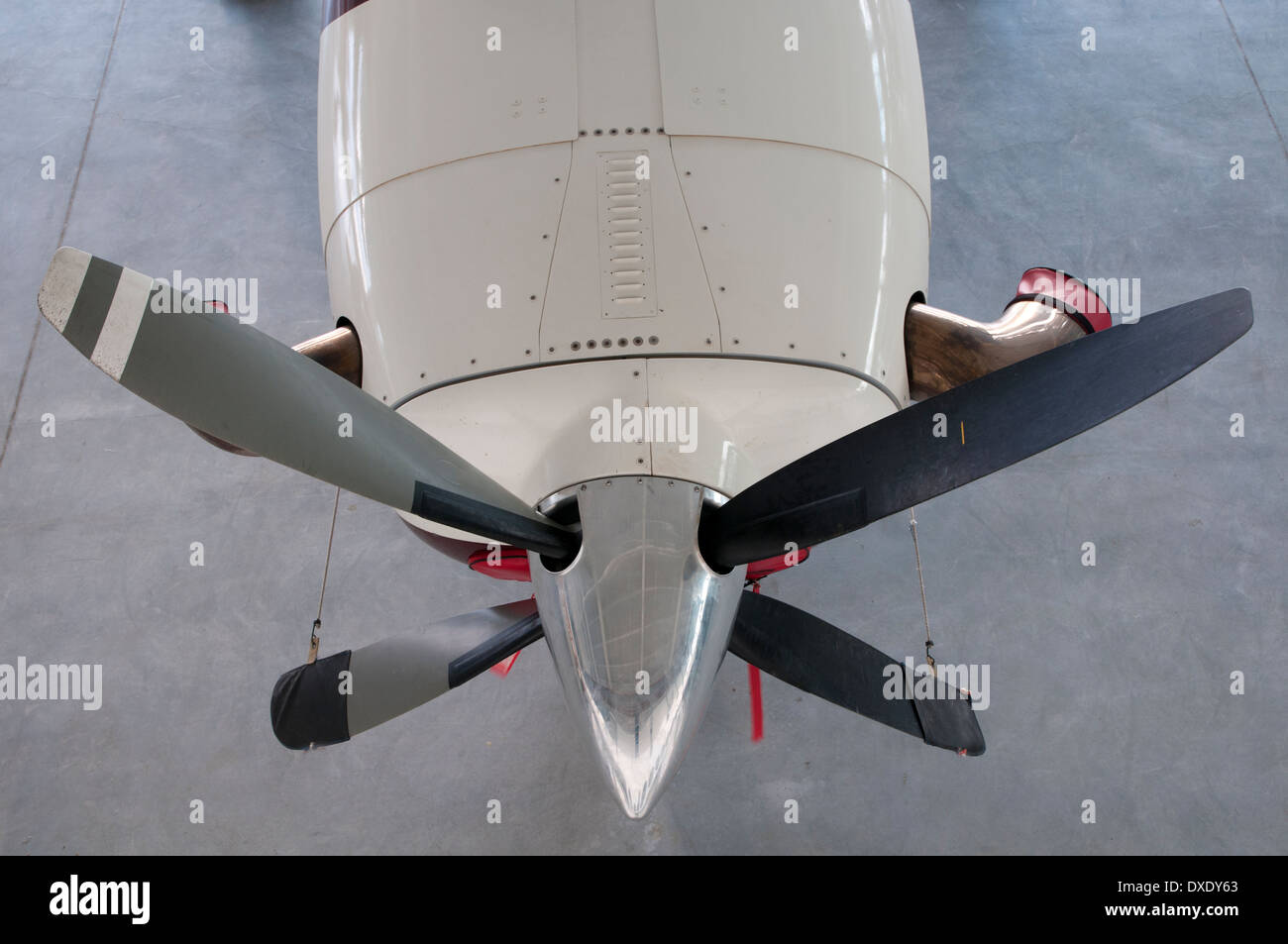 Airplane engine and propeller - Stock Image