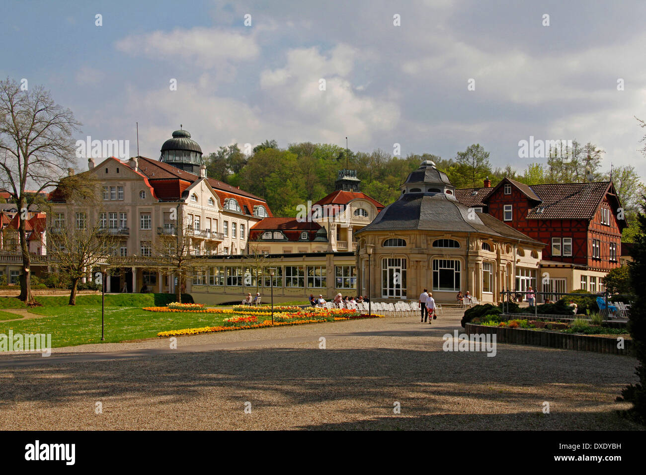 Spa gardens, casino, Bad Salzschlirf, district of Fulda, Hesse, Germany Stock Photo