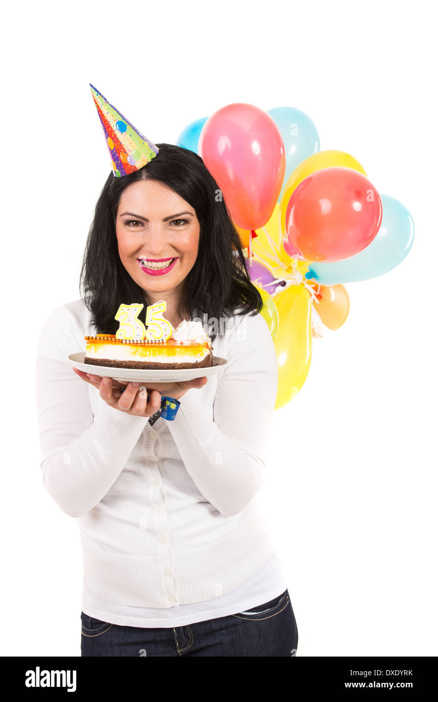 Laughing Woman Holding Birthday Cake And Balloons Isolated On White Background