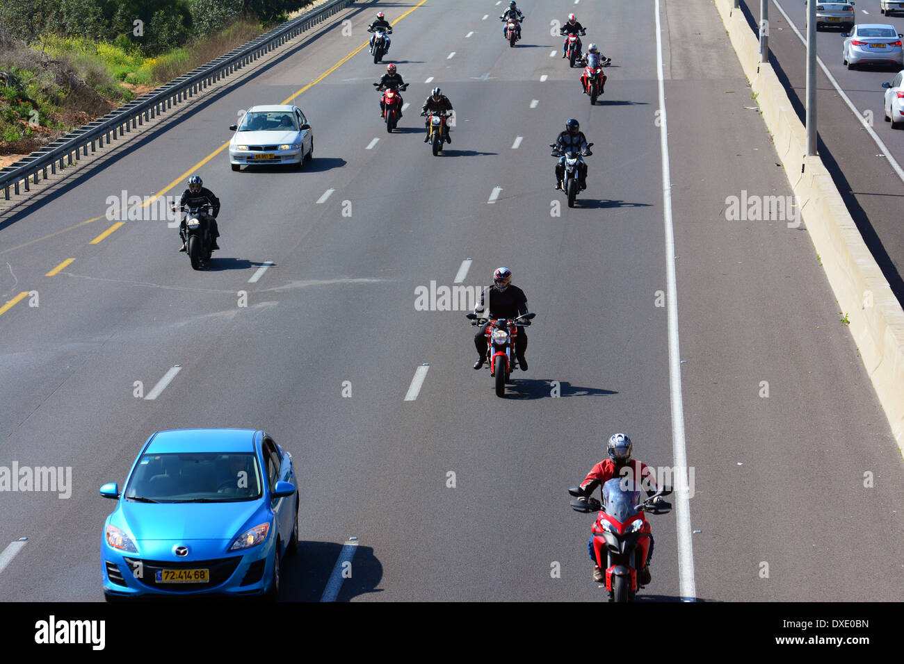 Motorcycles on highway, Israel - Stock Image