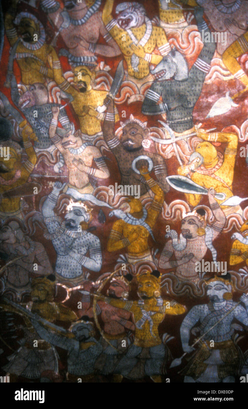 Mural on the roof of the Dambulla Caves - Stock Image
