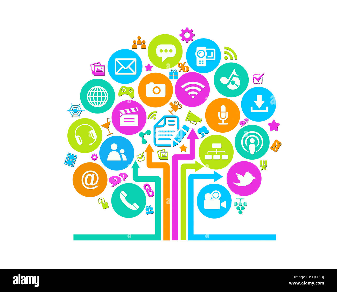 social media tree icons white background stock photo 67920374 alamy