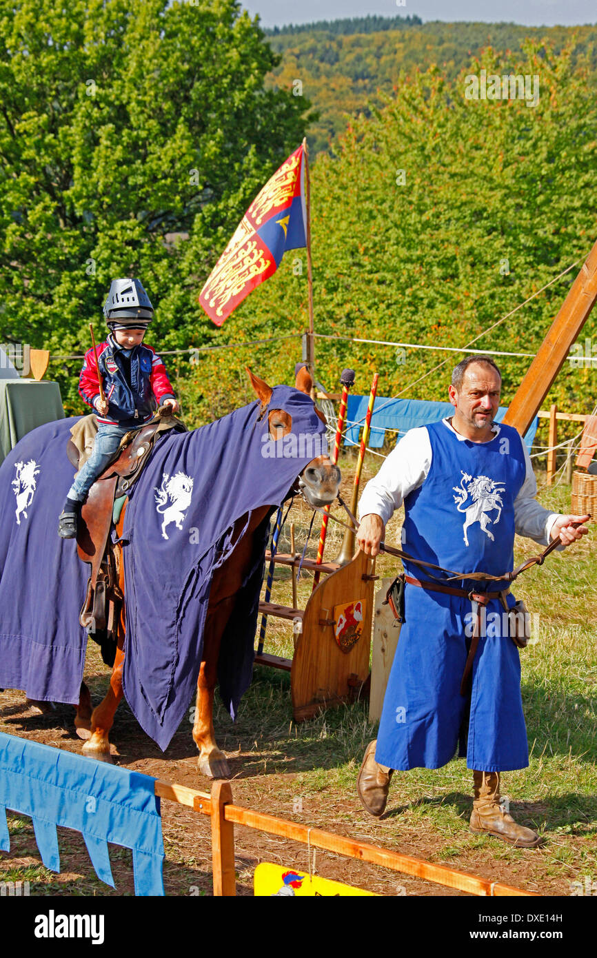 Knight tournament for children, Middle Ages  Market, Ronneburg, Hesse, Germany - Stock Image