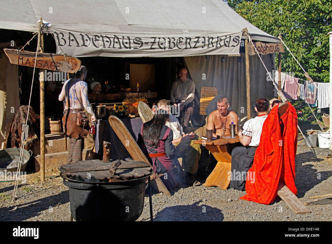 Medieval Bathhouse Knight Tournament Middle Ages Market Ronneburg Hesse Germany