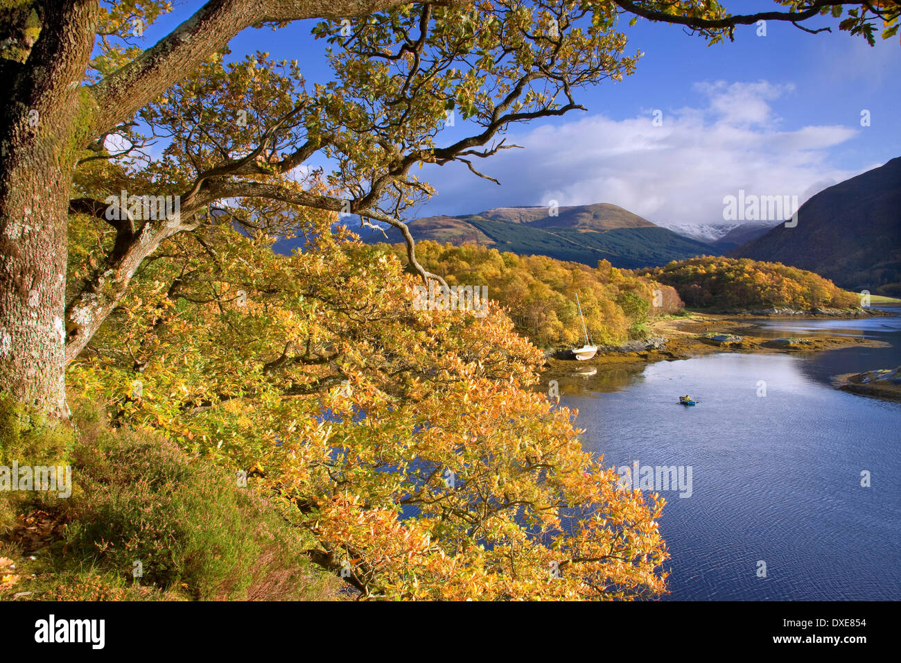 Bishops Bay and Glencoe Hills, Loch leven, West Highlands - Stock Image