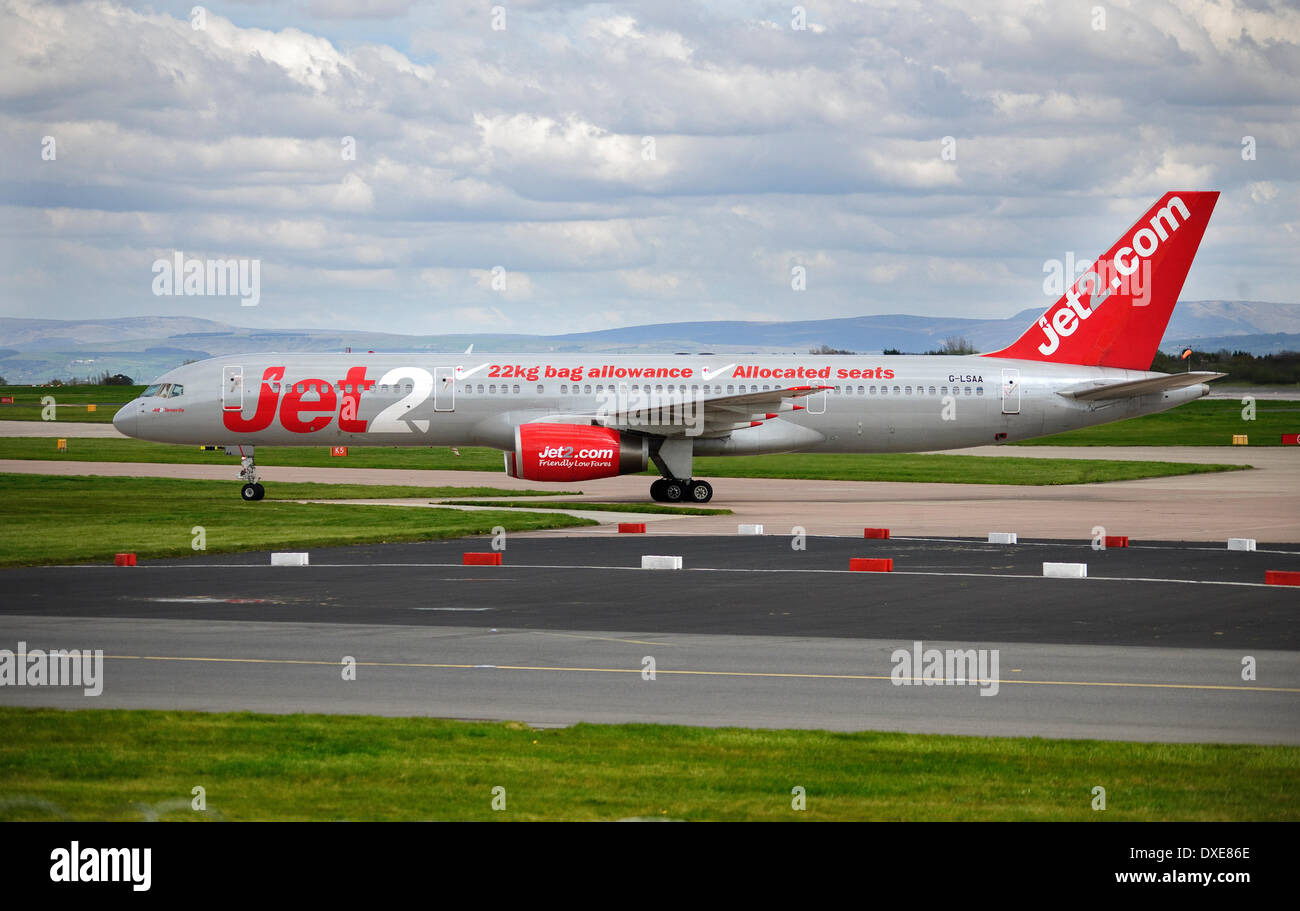 A Jet2 boeing 757 airliner seen at manchester airport 2012. - Stock Image