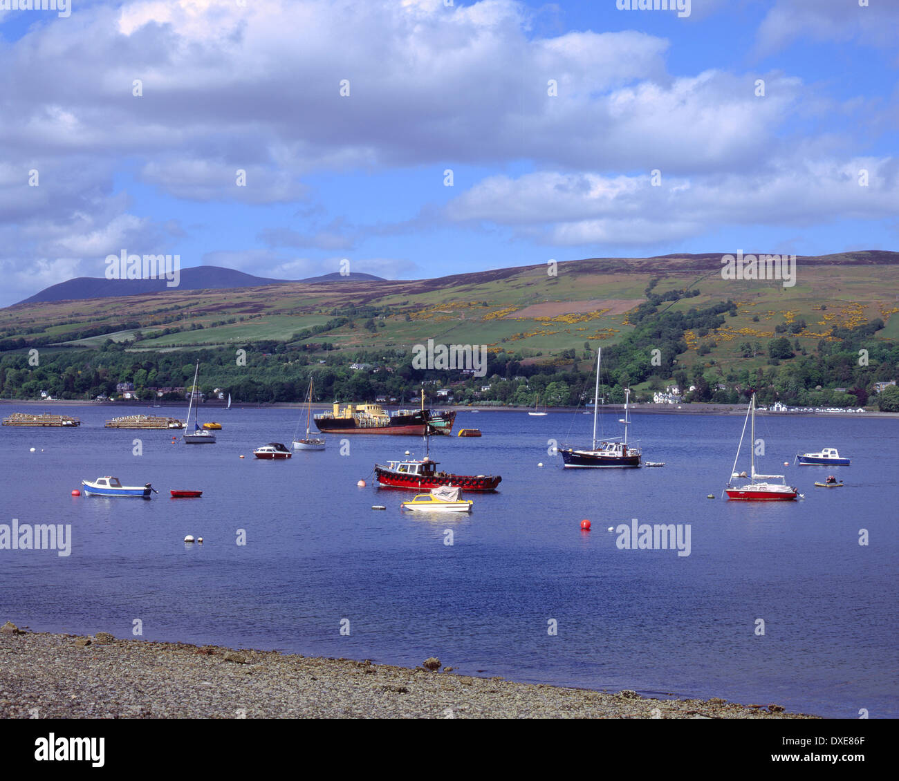 Boats on Gareloch near clynder on the rosneath peninsula, clyde. - Stock Image