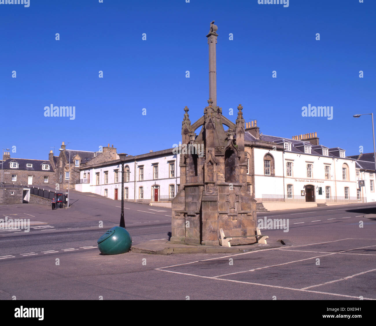 1695 Mercat cross in Cullen Town, Moray Firth - Stock Image