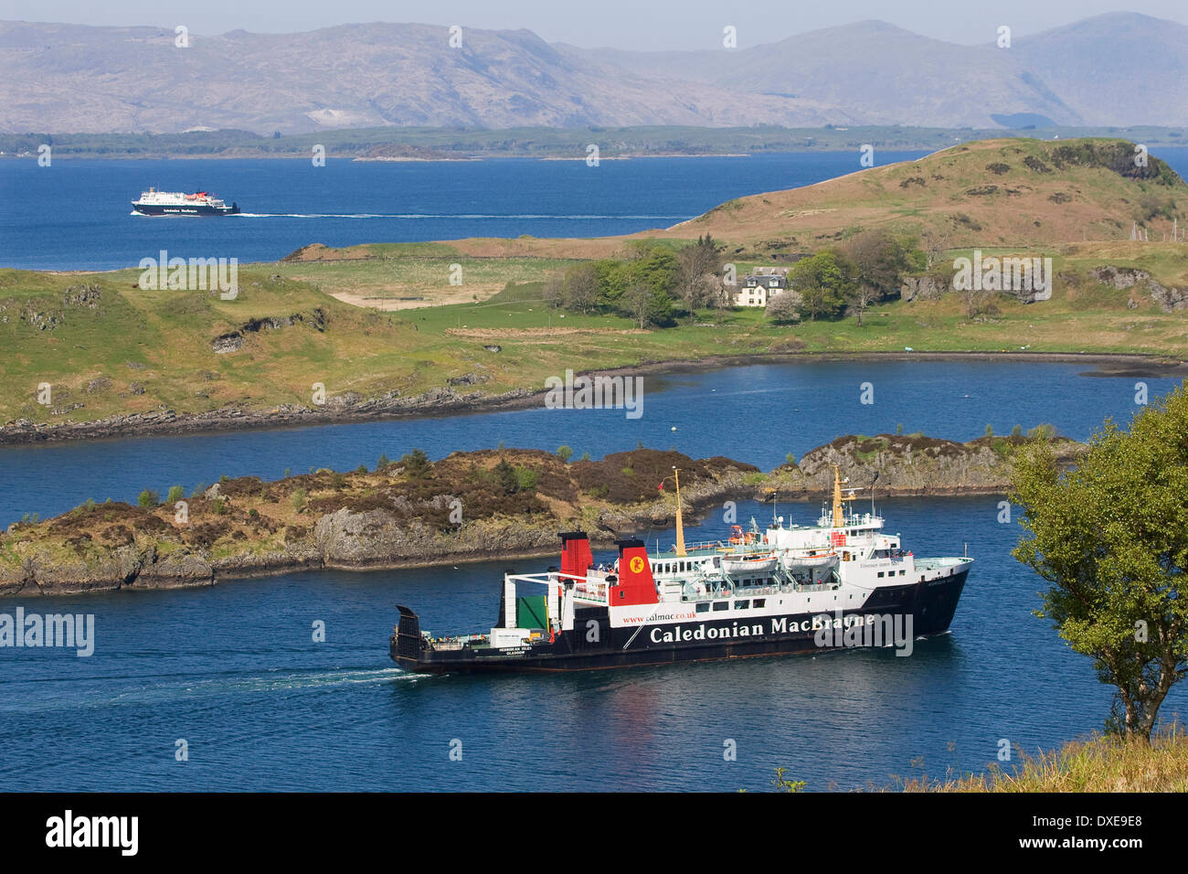 Two cal mac vessels in the oban area  from the sound of Kerrera argyll 2011 - Stock Image