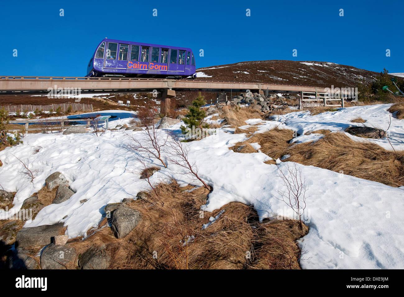The cairngorm railway on lower slopes near terminus.Cairngorm-mountains,Glenmore. Stock Photo