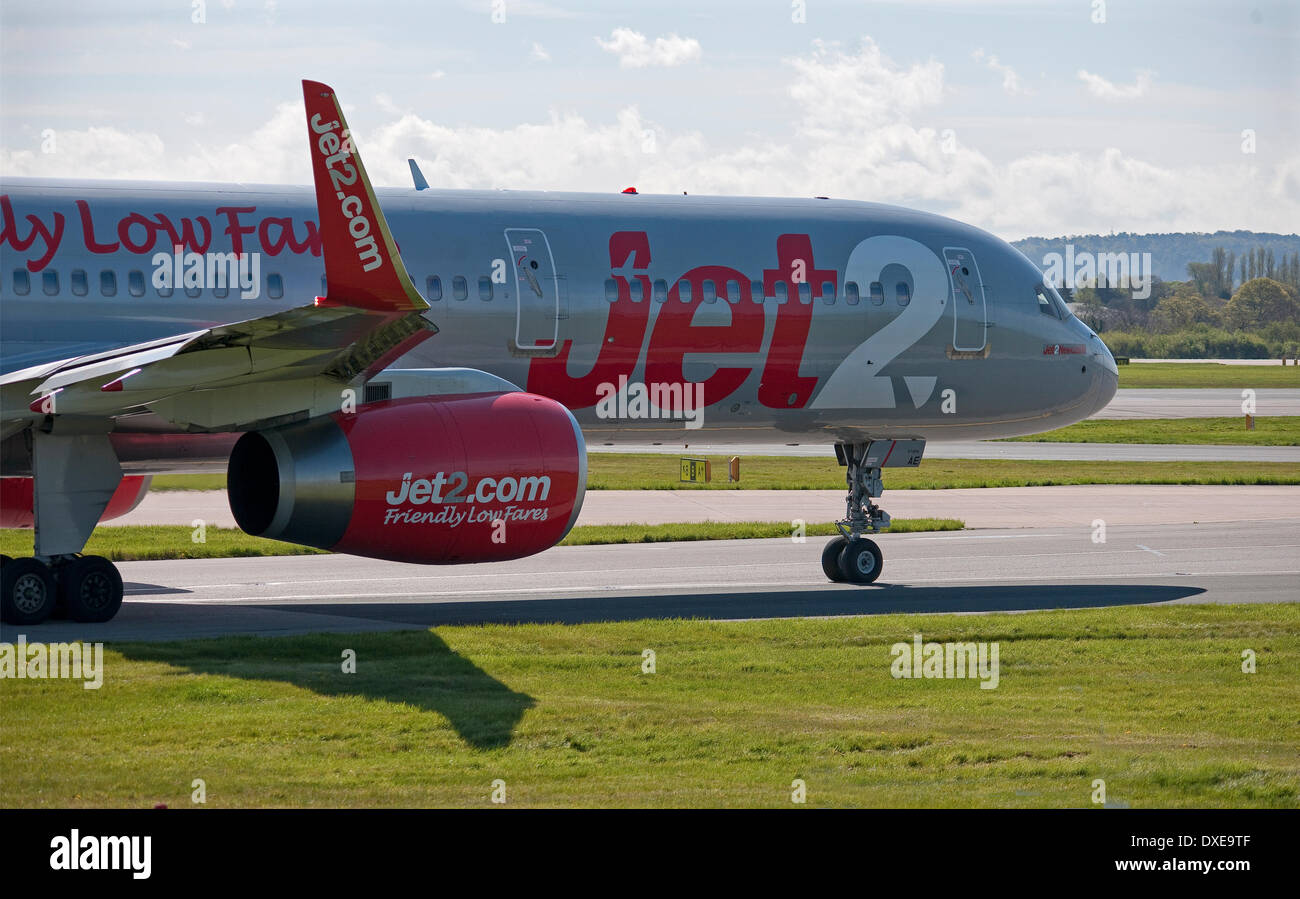 A Jet 2 -airline boeing 757 taxi-ing at Manchester airport, - Stock Image