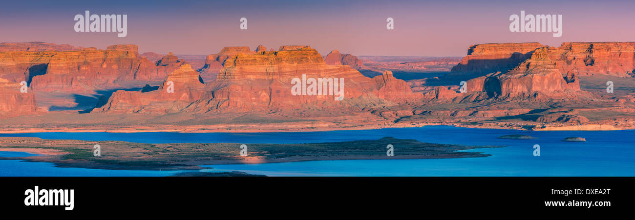 Sunset At Alstrom Point, Lake Powell, Utah - Stock Image