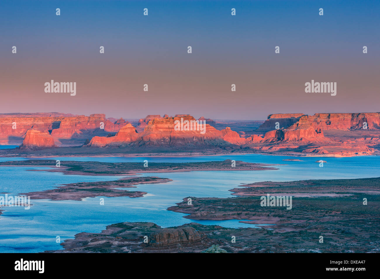 Sunset At Alstrom Point, Lake Powell, Utah - Stock Image