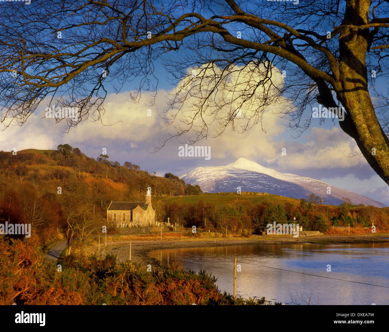 Ardchattan church and ben Cruachan,Loch Etiveside,Argyll,scotland. - Stock Image