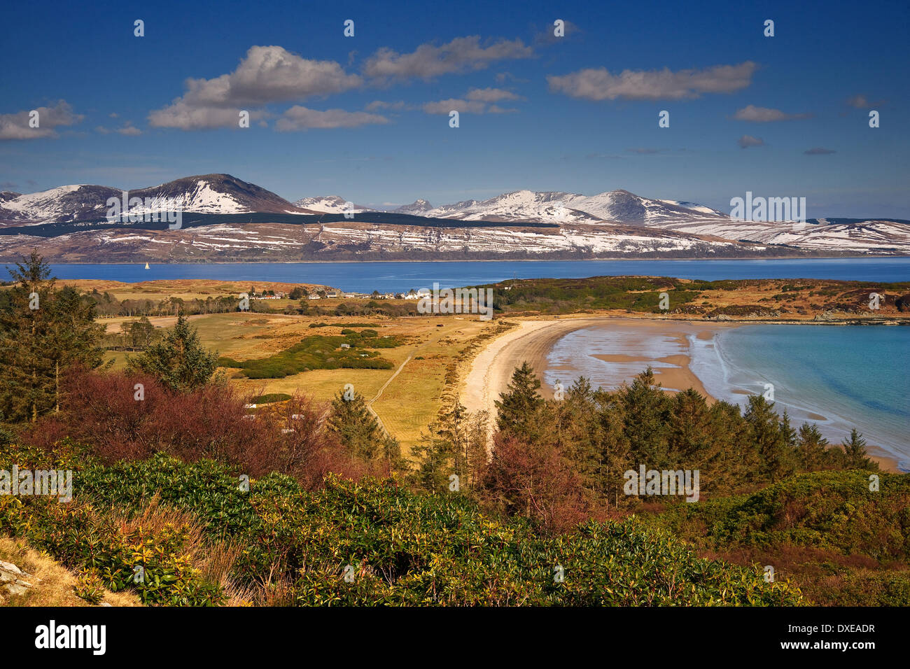 Sping view across Carradale bay towards the island of Arran,Kintyre,Argyll. - Stock Image