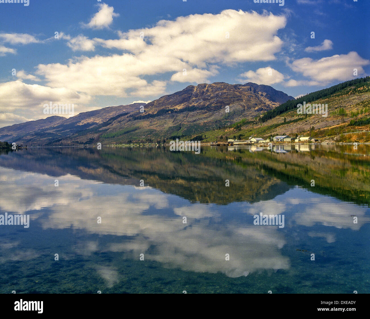 Peaceful reflections on Long Long, Arrochar - Stock Image