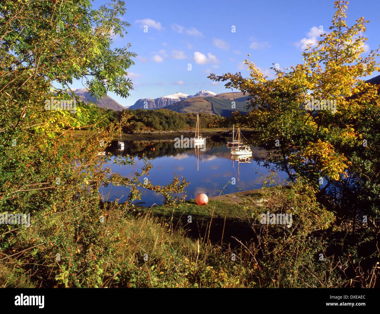 Autumn view amongst the glencoe hills from bishops bay, Ballachullish, West Highlands - Stock Image
