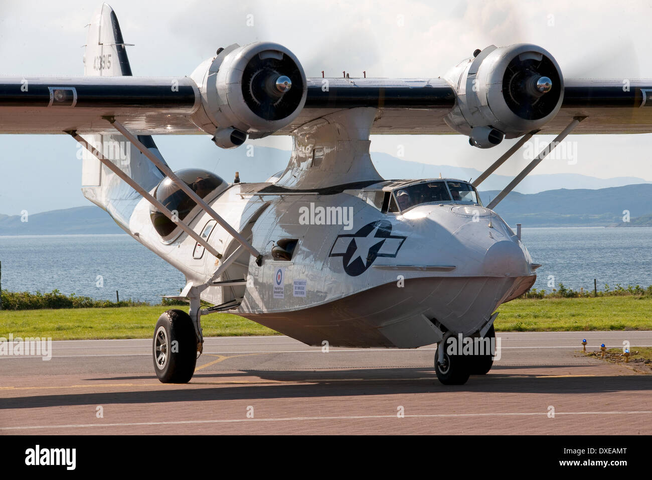 PBY-5A catalina flying boat taxis at Oban airport argyll in 2013 - Stock Image
