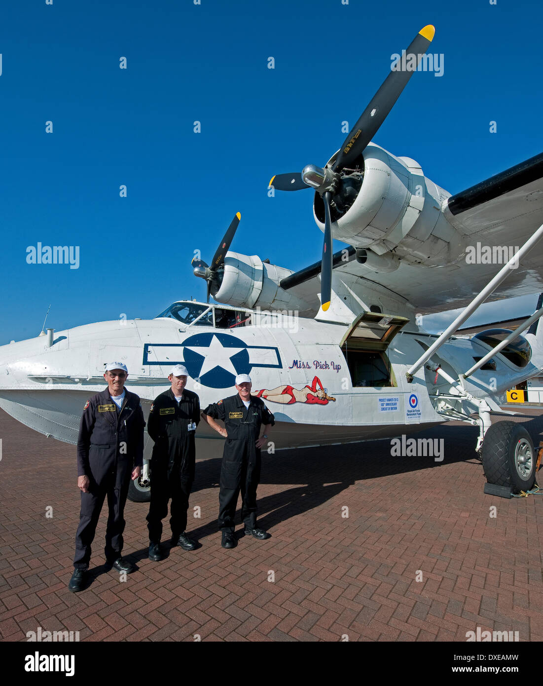 PBY-5A catalina flying boat at Oban airport Argyll during the around britain hawker project 2013 - Stock Image