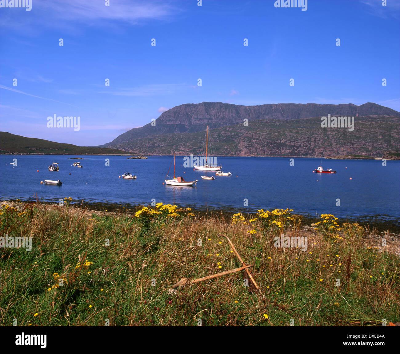 Summer view across Ardmair bay towards Ben More Coigach,West Ross,North west highlands.scotland. - Stock Image