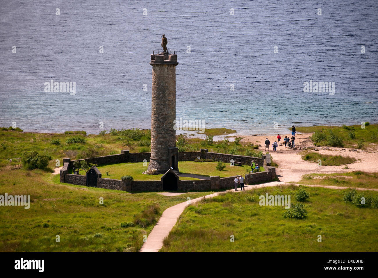 Looking down onto the Glenfinnan monument on the shore of Loch Shiel, lochaber,west highlands - Stock Image