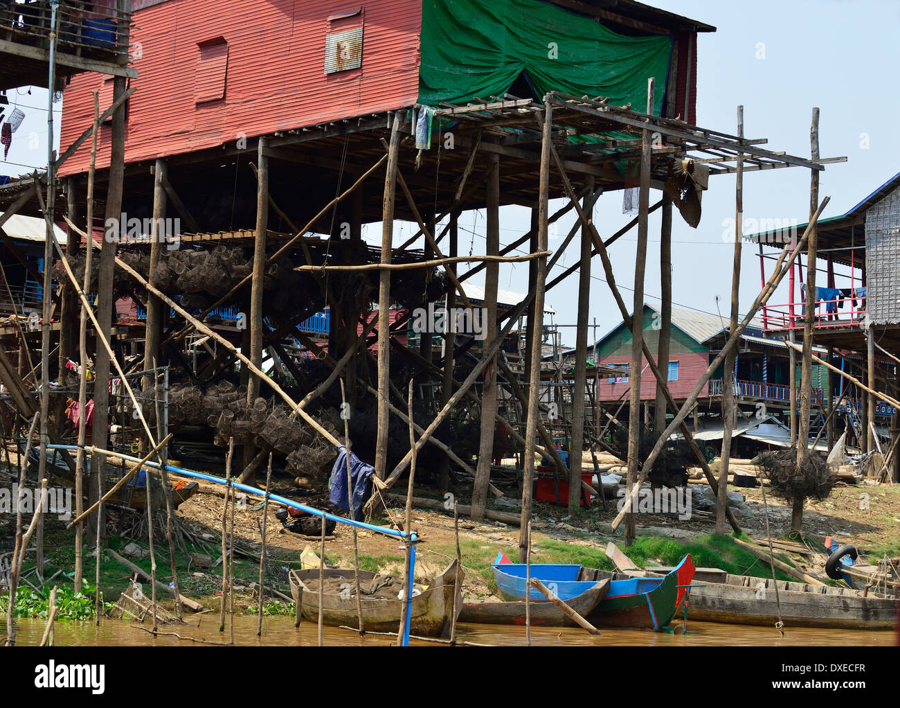 houses built on wooden poles to avoid the high range of water from Tonle Sap lake, during the winter months, Cambodia - Stock Image