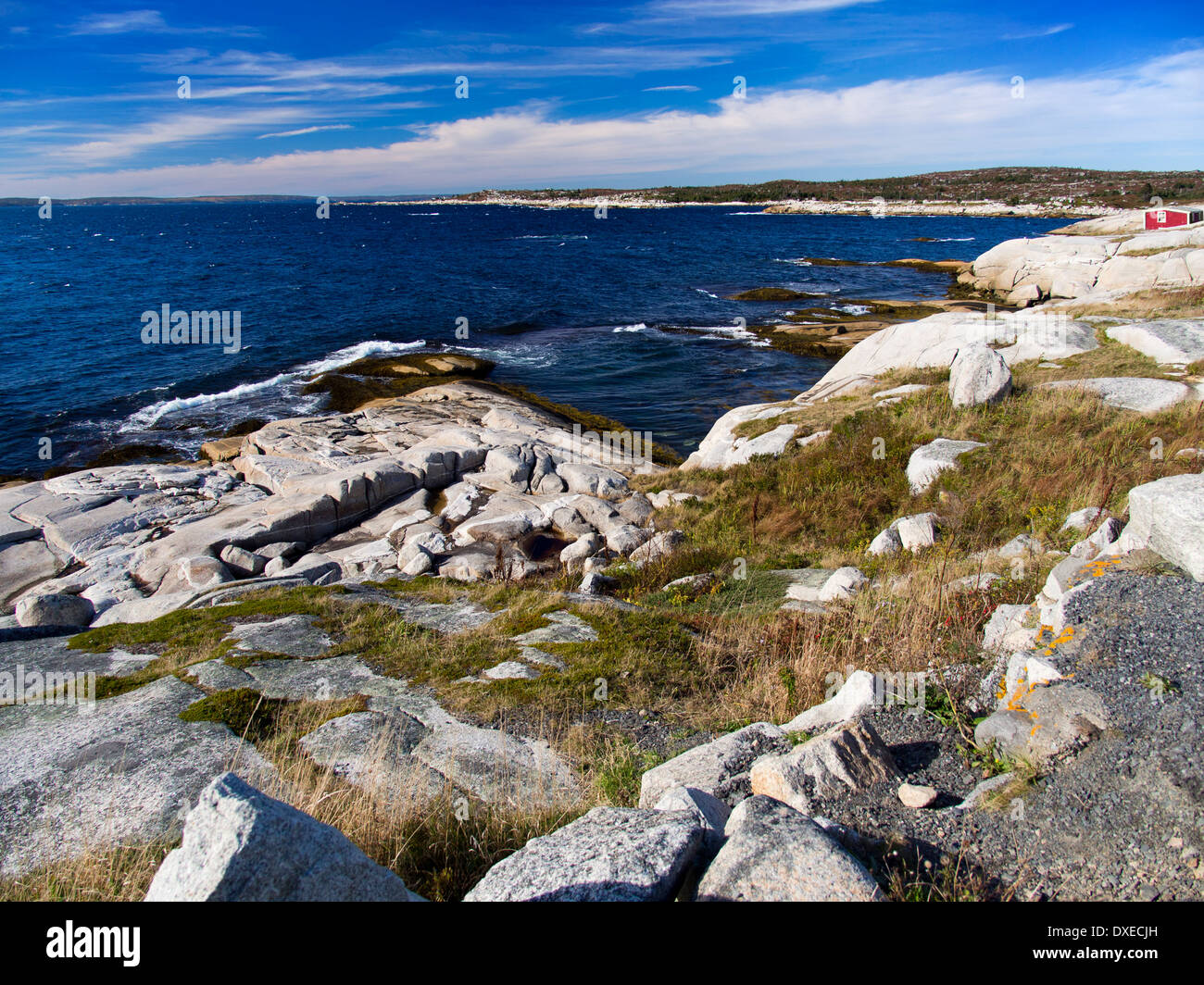 Peggy's Cove, Nova Scotia Canada - red house on the coastline Stock Photo