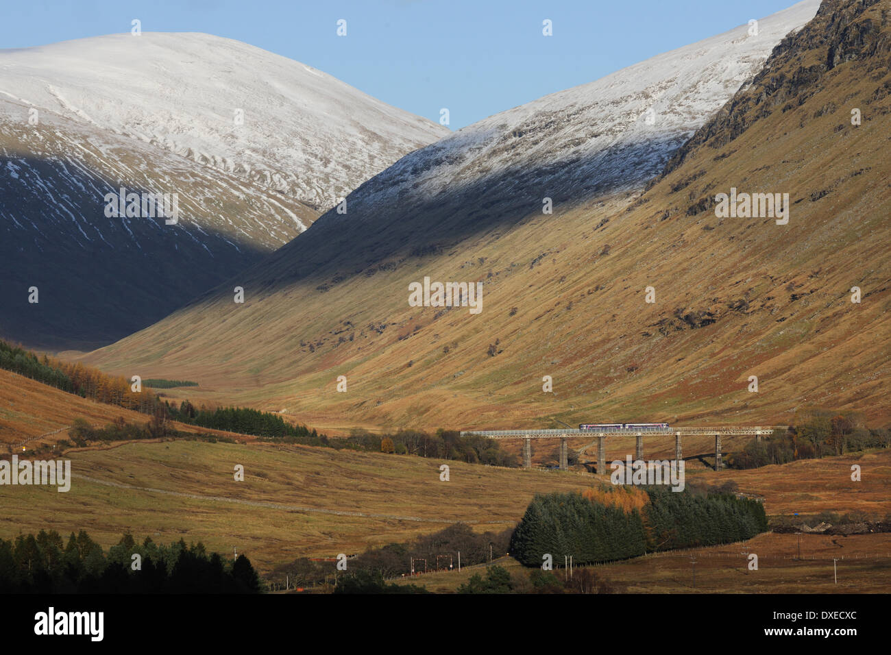 First Scotrail 156 Sprinter train crossing the Horseshoe viaduct Glen Auch nr Tyndrum, West Highland Line. - Stock Image