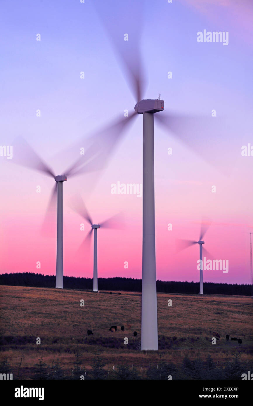 4 wind power turbines at Tangy, Kintyre, Argyll - Stock Image
