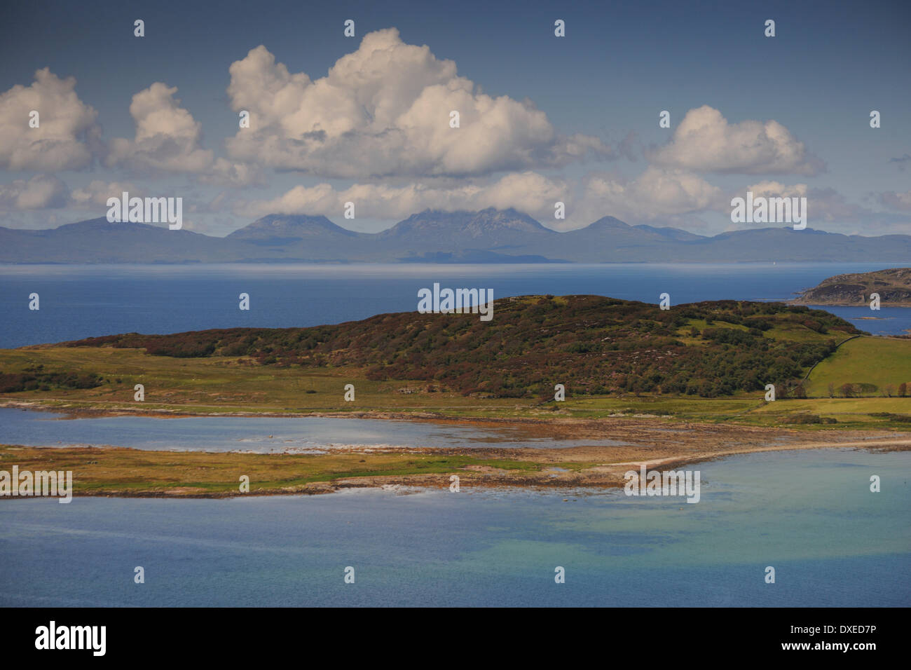 stunning view from kintyre towards the paps of jura,west loch tarbert argyll. Stock Photo