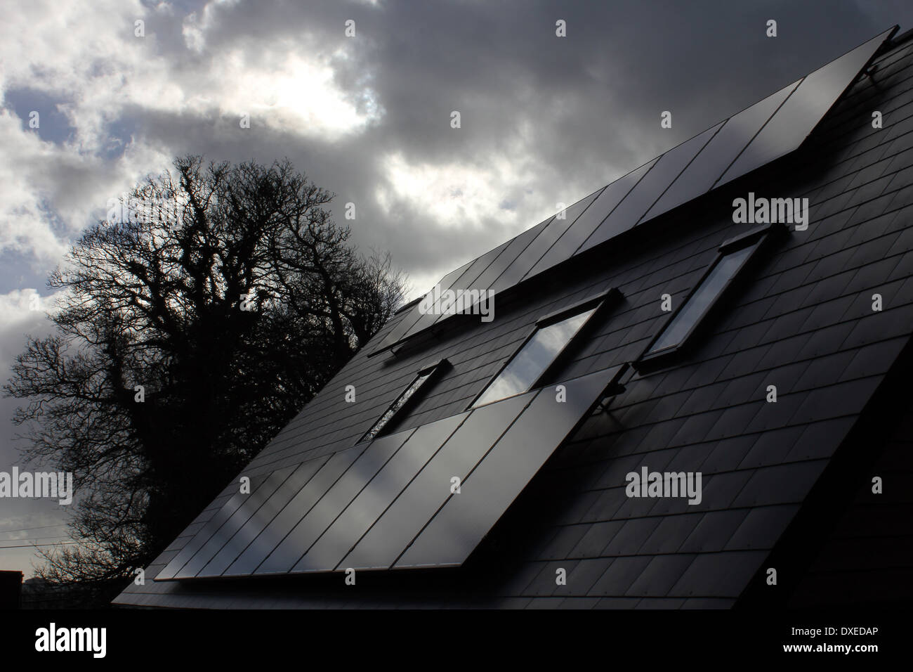 A solar panel is a set of solar photovoltaic modules electrically connected and mounted on a supporting structure. - Stock Image