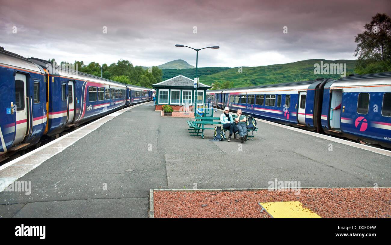 First Scotrail 156 sprinters sitting at Crianlarich Station, West Highland Railway. - Stock Image