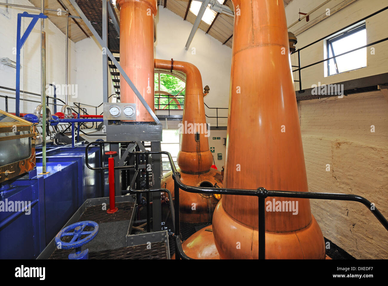 The Still house in Tobermory Distillery, isle of Mull. - Stock Image