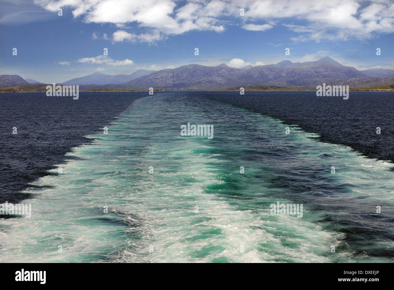 Veiw from the departing Clansman towards Tarbert, Isle of Harris, Outer Hebrides. - Stock Image