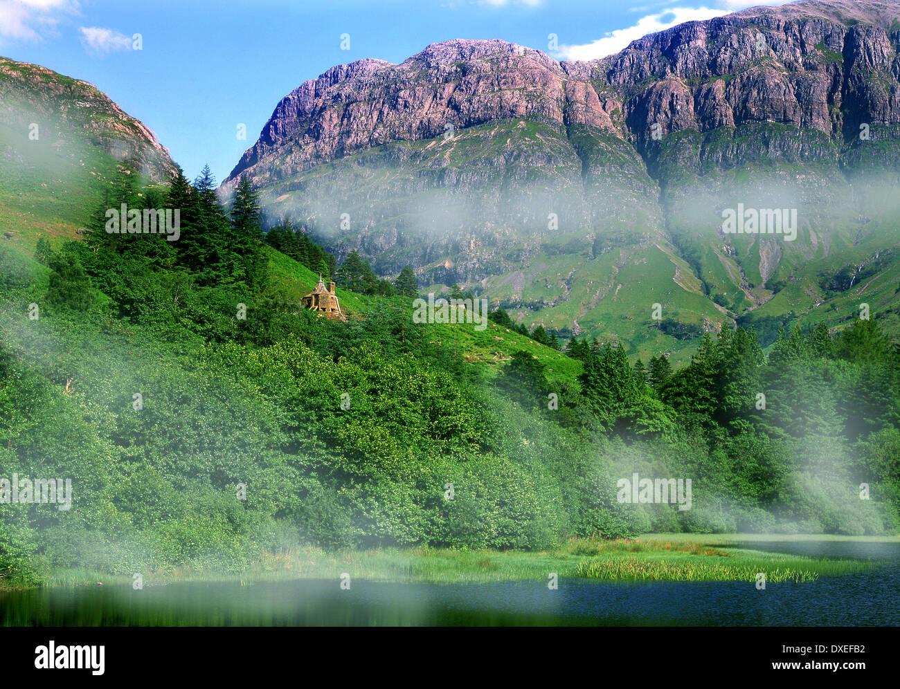 Hagrids hut on the set of Harry Potter, Glencoe, West Highlands - Stock Image