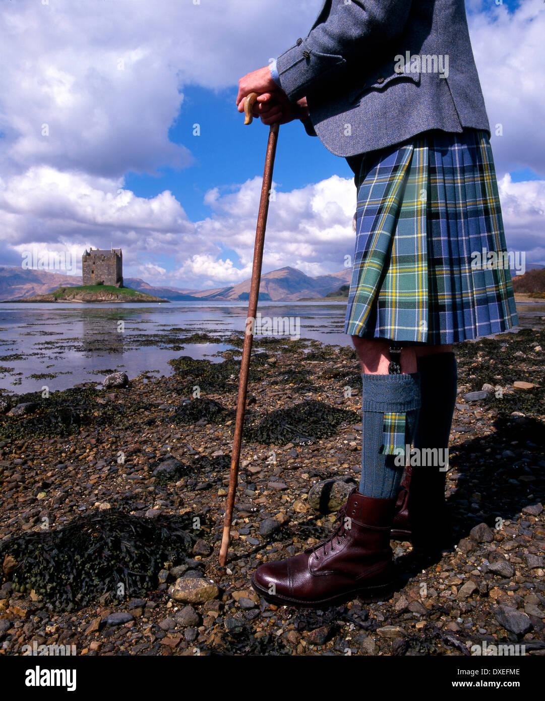 Highlander at Castle Stalker, Appin, Argyll - Stock Image