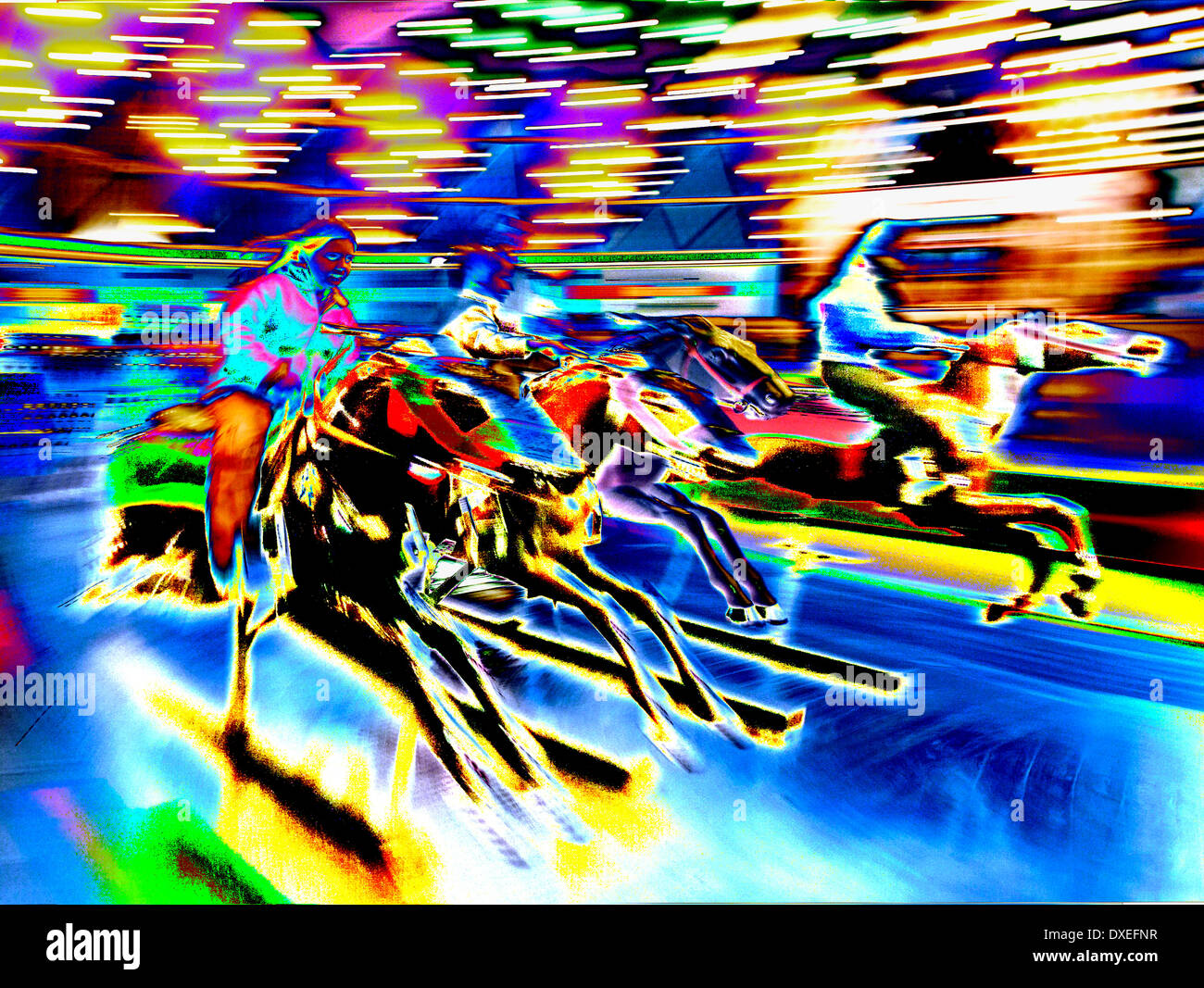 Abstract photo art of motion taken at fairground. - Stock Image