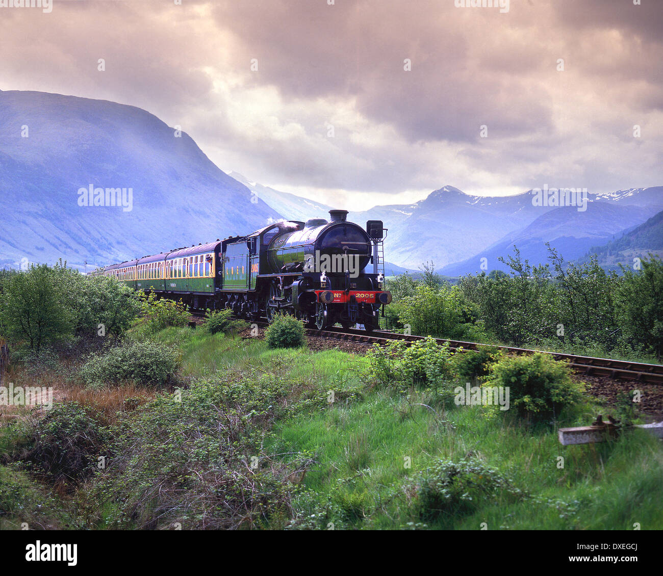 LNER steam train K! heads towards Corpach with ben Nevis in View.Archive.West Highland Line,Lochaber, - Stock Image
