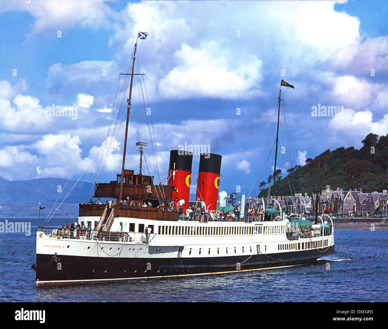 Archive picture of the King George V in Oban Bay, Argyll 1970's. - Stock Image