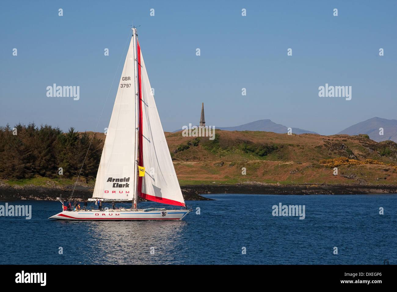 Large yacht passing Kerrera, Oban bay, Argyll - Stock Image