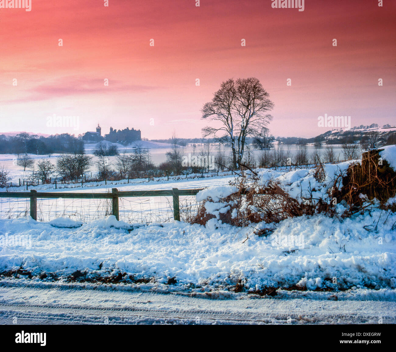 Winter view of Linlithgow Palace and Lake, west Lothian Stock Photo