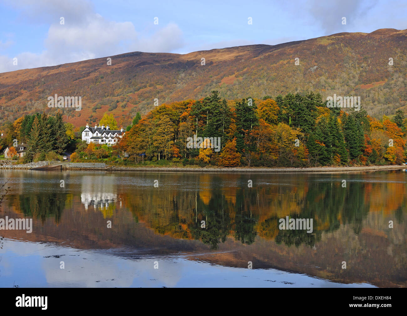 Autumn view towards the Loch Leven Hotel, Loch Leven, West Highlands. - Stock Image