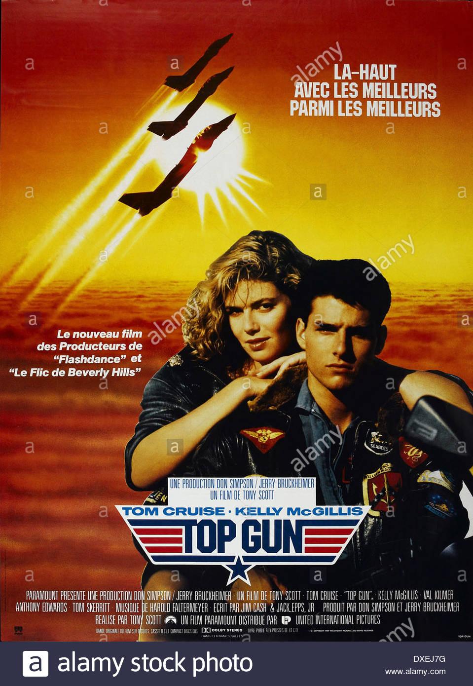 Top Gun  Year : 1986 USA Director : Tony Scott Kelly McGillis, Tom Cruise Movie poster (FR) - Stock Image